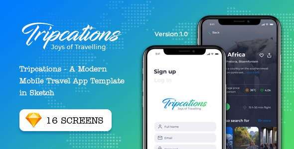 Tripcations – A Modern Mobile Travel App Template in Sketch