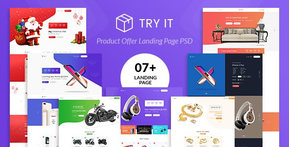 Tryit – Product Offer Landing Page PSD Template