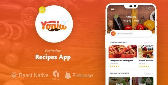 Yonia – Complete React Native Recipes App + Admin Panel