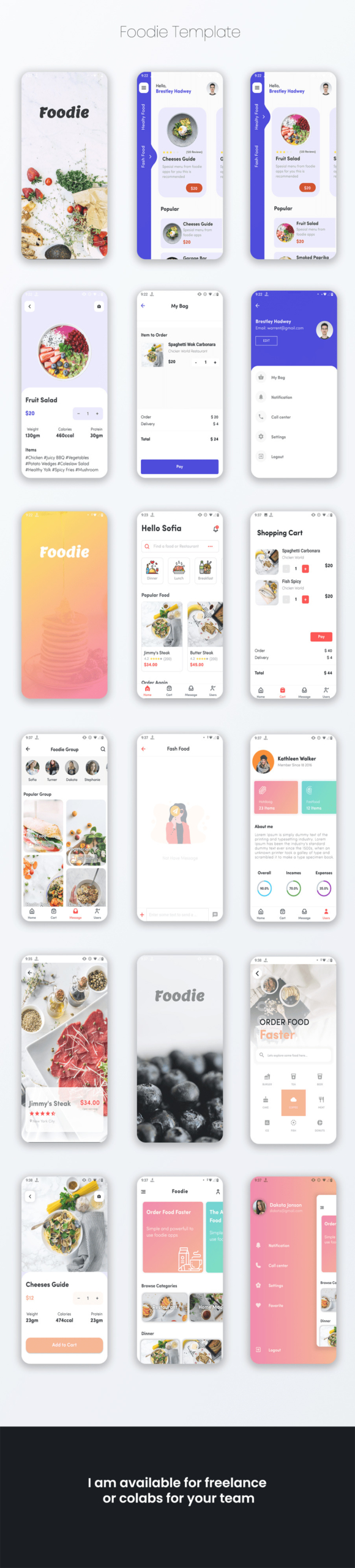 foodie flutter food delivery ui kit presentation14