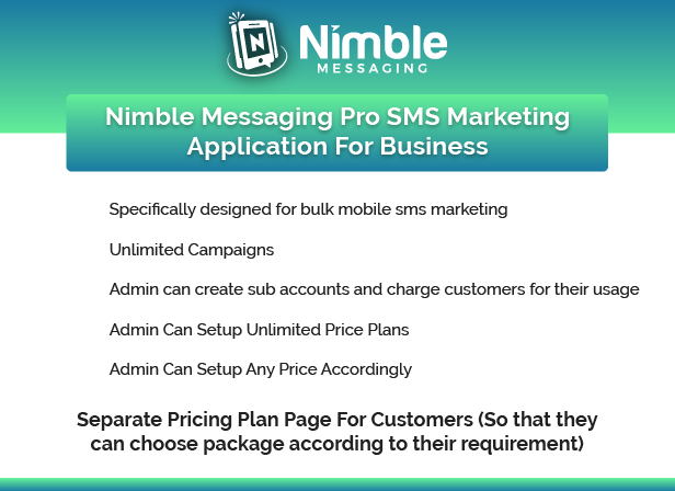Nimble Messaging Professional SMS Marketing Application For Business Pricing Plan Features Image 1