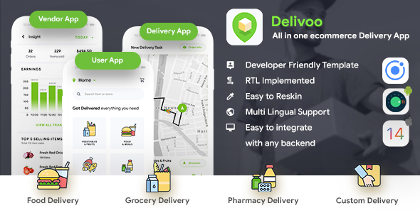 All in one ecommerce Delivery App IONIC Template| User App + Vendor App + Delivery App | Delivoo