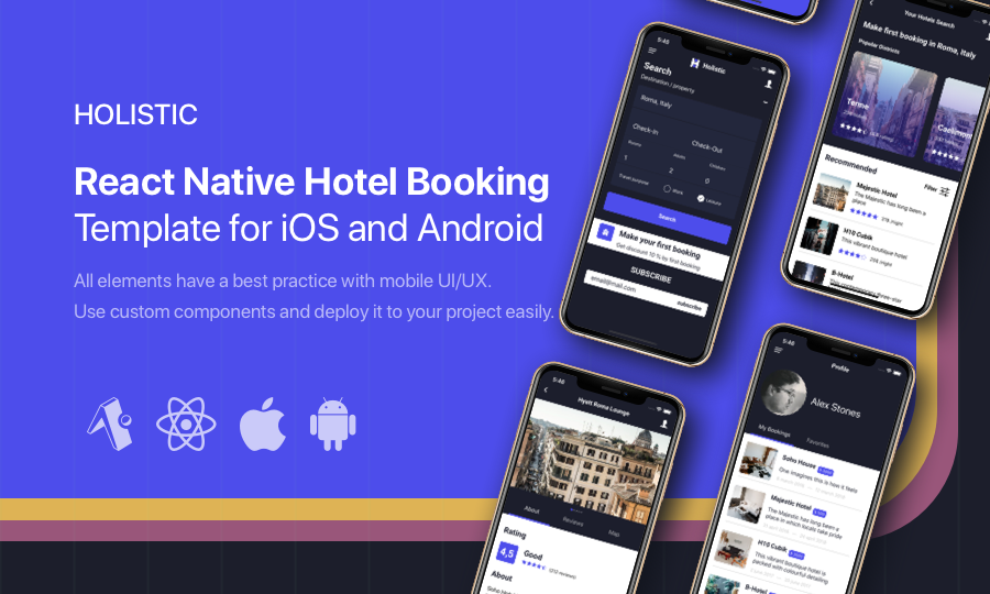 Holistic – React Native Hotel Booking template for iOS and Android
