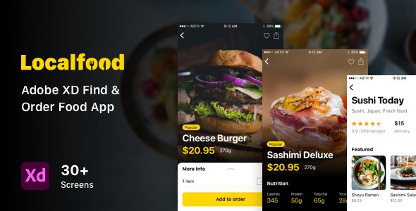 Localfood – Adobe XD Find & Order Food App