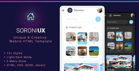 Soroniux Mobile HTML template with Bootstrap Framework