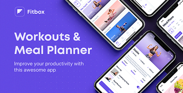 Fitbox – Workouts & Meal Planner UI Kit for Sketch