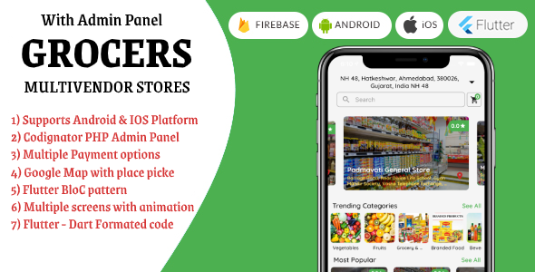 """""""Grocers"""" Multivendor Grocery Stores with Flutter + PHP Admin Panel"""