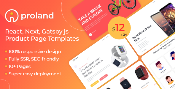 iProland – React Gatsby & Next Product Landing Page Template