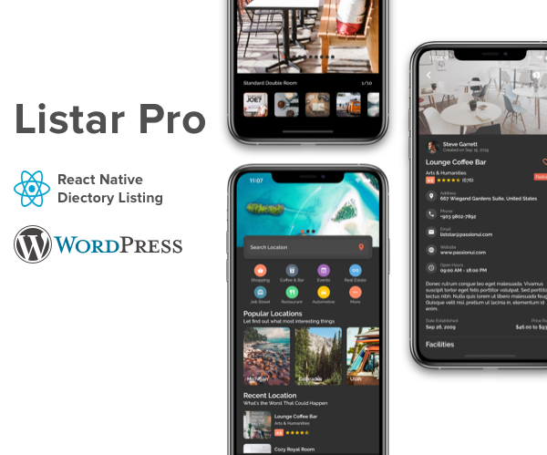 Listar Pro - mobile directory listing app for React Native & WordPress - 1