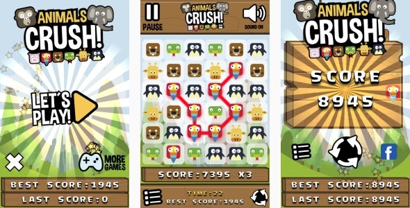 Animals Crush Match3 – HTML5 Game + Android + AdMob (Construct 3 | Construct 2 | Capx)