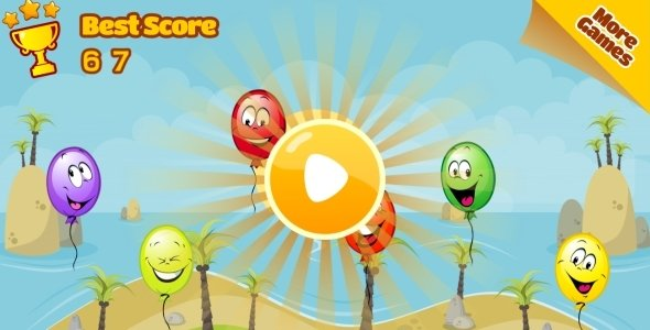 Balloon Paradise – HTML5 Mobile Game (Construct 3 | Construct 2 | Capx)