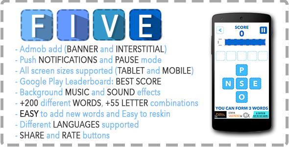 Five – Words Game + Admob – Leaderboard – Share