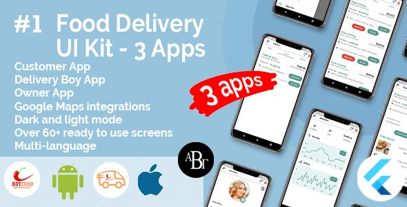 Food Delivery UI Kit in Flutter – 3 Apps – Customer App + Delivery App + Owner App