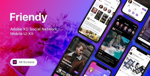 Friendy – Adobe XD Social Network Mobile UI Kit