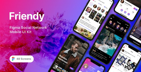Friendy – Figma Social Network Mobile UI Kit
