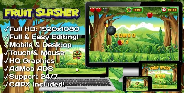 Fruit Slasher – HTML5 Game, Mobile Version+AdMob!!! (Construct 3 | Construct 2 | Capx)
