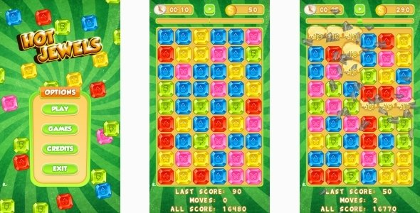 Hot Jewels – HTML5 Mobile Game (Construct 3 | Construct 2 | Capx)