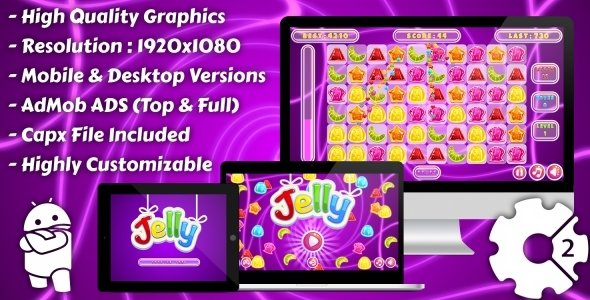 Jelly Match-3 – HTML5 Game, Mobile Version+AdMob!!! (Construct 3 | Construct 2 | Capx)