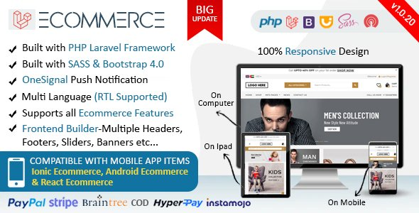 Laravel Ecommerce – Universal Ecommerce/Store Full Website with Themes and Advanced CMS/Admin Panel