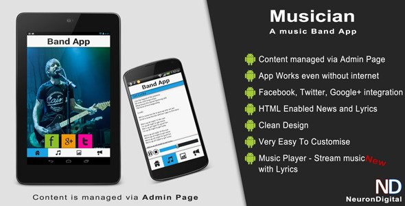 Musician – A Music Band Android App