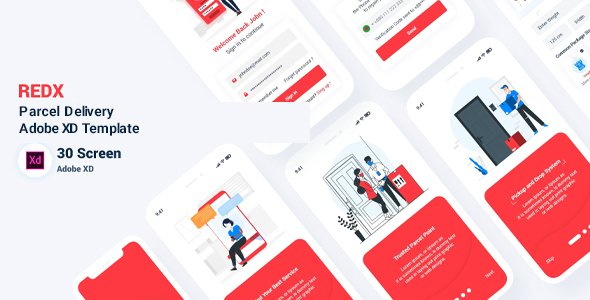 Redx – Parcel Delivery Adobe XD Template