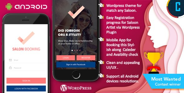 Saloon Booking Android Native App with WordPress Plugin with Responsive Web Theme