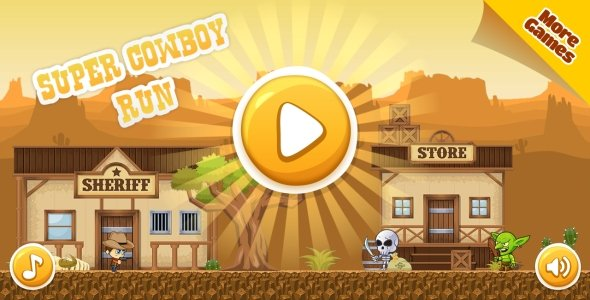 Super Cowboy Run – HTML5 Game, Mobile Version+AdMob!!! (Construct 3 | Construct 2 | Capx)