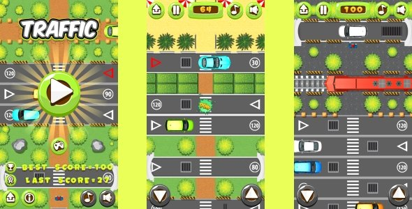 Traffic – HTML5 Game, Mobile Version+AdMob!!! (Construct 3 | Construct 2 | Capx)