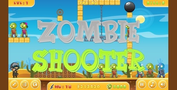 Zombie Shooter – HTML5 Game + Mobile version! (Construct 3 | Construct 2 | Capx)