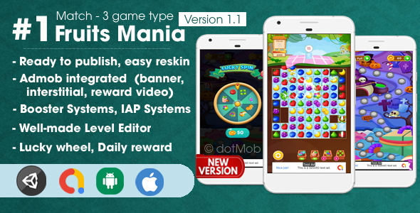 Fruit Mania – Match 3 Game Unity Template