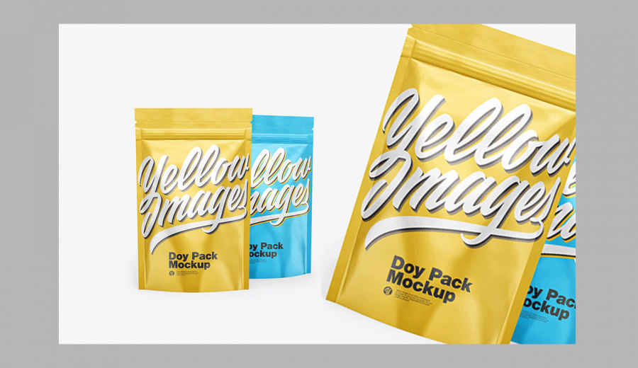 Two Glossy Metallic Stand-Up Pouches Mockup
