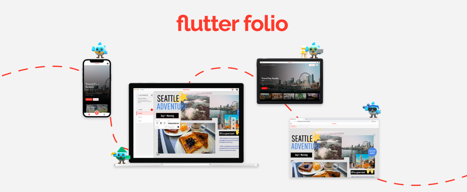 Flutter Folio – mobile(ios, android), desktop (windows, macos, linux),  web