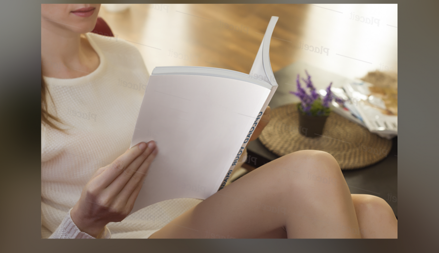 A girl reads a paper book Mockup