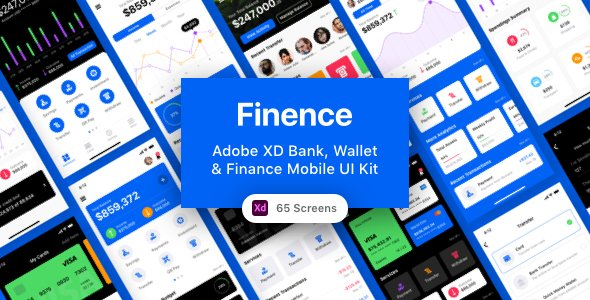 Finence – Adobe XD Bank, Wallet & Finance Mobile UI Kit