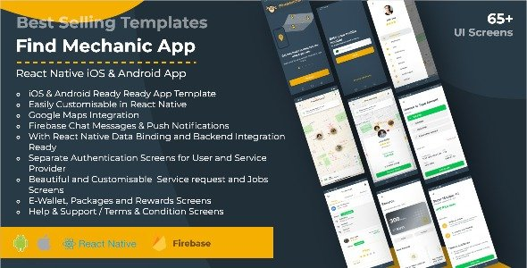Find Mechanic – Premium React Native Full Application Template for iOS & Android