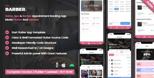 Salon Booking Management System With Mobile App using Flutter